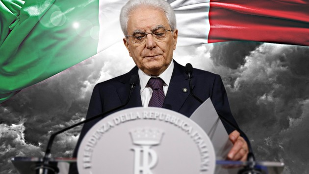 Für die Fünf-Sterne-Bewegung und die Lega gilt nun Präsident Sergio Mattarella als Buhmann. (Bild: AP, krone.at-Grafik, stock.adobe.com)