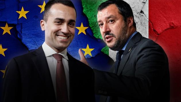 Es ist eine wahre Zwickmühle: Die EU zittert vor dem populistischen Kurs von Luigi Di Maio (links) und Matteo Salvini (rechts), sollten sie eine Regierung bilden. Eine lange Hängepartie in Rom hingegen macht die Märkte immer nervöser und italienische Staatsanleihen teurer. (Bild: AP, stock.adobe.com, krone.at-Grafik)