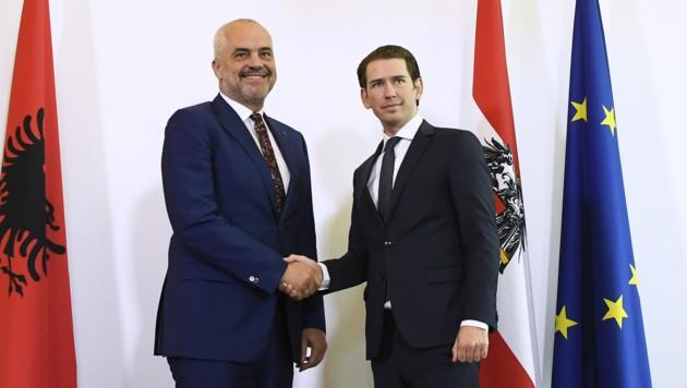 Bundeskanzler Sebastian Kurz und der albanische Premierminister Edi Rama im Bundeskanzleramt in Wien. (Bild: APA/ROBERT JAEGER)