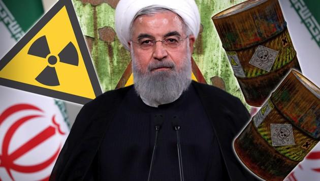 Hassan Rohani, Präsident der Islamischen Republik Iran (Bild: AFP, stock.adobe.com, krone.at-Grafik)