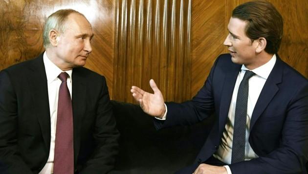 Der russische Präsident Wladimir Putin und Bundeskanzler Sebastian Kurz im Jahr 2018 (Bild: APA/Robert Jäger)