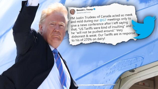US-Präsident Trump sorgte beim G7-Gipfel in Kanada für einen Eklat. (Bild: AFP, twitter.com, krone.at-Grafik)
