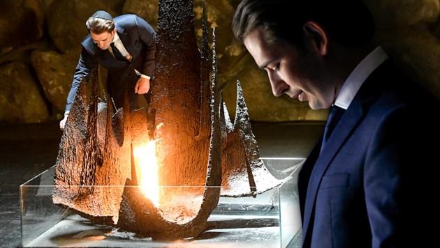 Juni 2018: Sebastian Kurz in der Holocaust-Gedenkstätte Yad Vashem (Bild: APA/ROBERT JAEGER, AP, krone.at-Grafik)