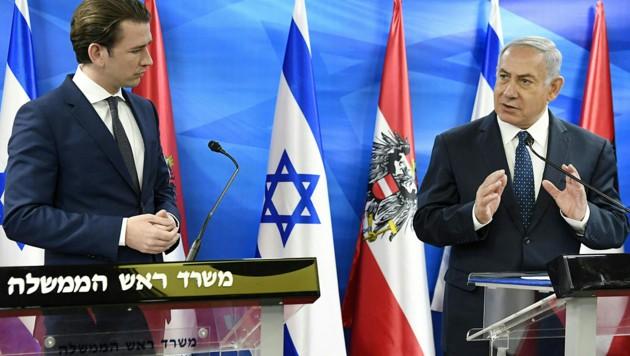 Sebastian Kurz und Benjamin Netanyahu (Bild: AP/Robert Jäger)