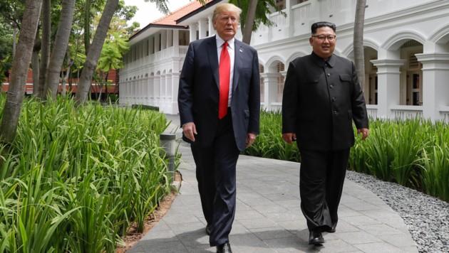 Trump und Kim in Singapur (Bild: AP)