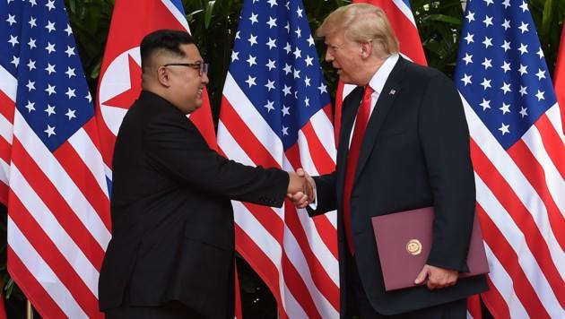 Kim und Trump in Singapur (Bild: AFP)