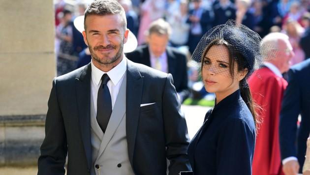 David und Victoria Beckham bei der Hochzeit von Prinz Harry (Bild: AFP or licensors)