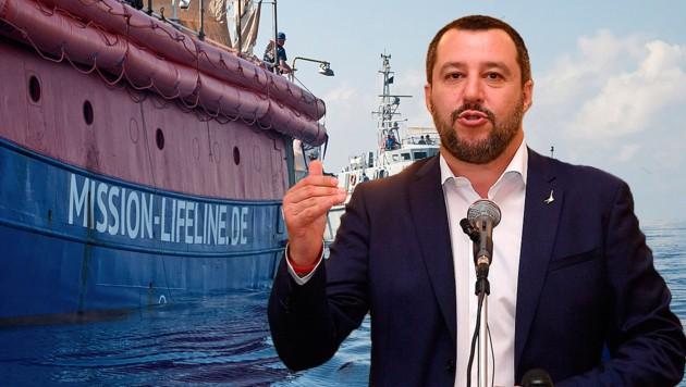 Der italienische Innenminister Matteo Salvini ist bekannt für seine harte Gangart gegenüber Seenotrettern. (Bild: AP, AFP, krone.at-Grafik)