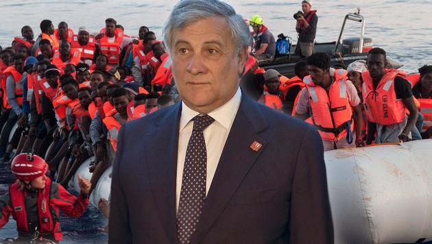 Antonio Tajani (Bild: APA/HERBERT NEUBAUER, AFP, krone.at-Grafik)