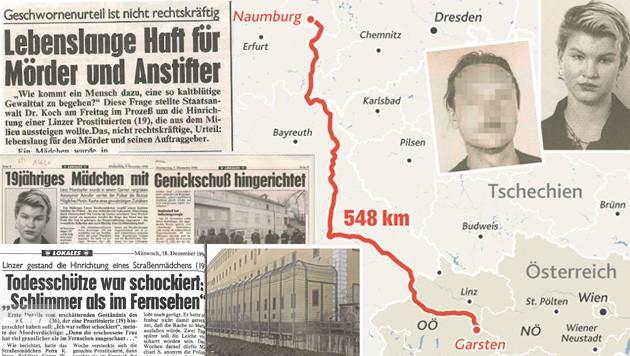 548 Kilometer flüchtete der Prostituiertenmörder von Garsten ins deutsche Naumburg. 1996 hatte er Petra K. durch einen Genickschuss getötet. (Bild: KRONE GRAFIK, Krone)