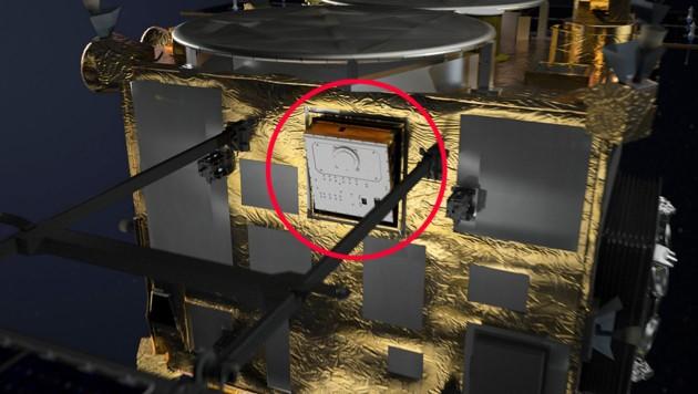 """Hayabusa 2"" mit Lander MASCOT (rot markiert) an Bord"