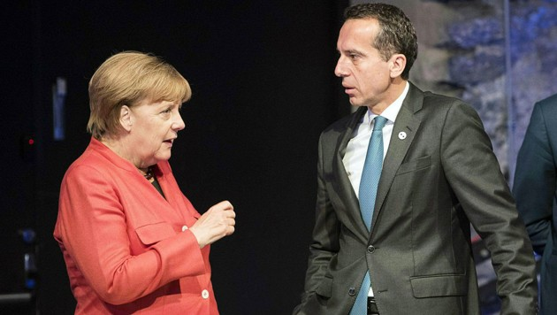 Christian Kern (SPÖ) bei einem Treffen mit der deutschen Bundeskanzlerin Angela Merkel (CDU) im September 2017 (Bild: APA/BKA/Andy Wenzel (Archivbild))
