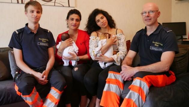 Simon, Sinan, Mutter Refka (36), Schwester Zara (17), Osman-Anes und Helmut (v.l.n.r.) trafen einander am vergangenen Dienstag wieder.