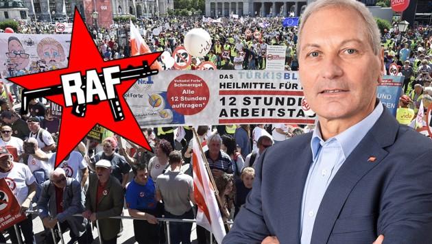 """Helmut Köstinger rief bei der ÖGB-Demo in Wien zum """"Sturz"""" der Regierung auf. (Bild: oegb.at/Michael Mazohl, APA/HANS PUNZ, krone.at-Grafik)"""