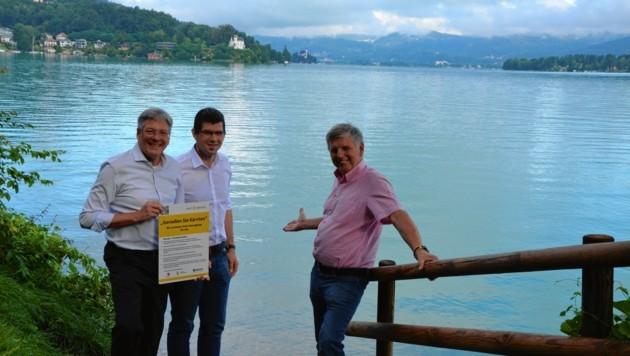 Kaiser, Gruber und Bürgermeister Markus Perdacher eröffneten den freien Seezugang