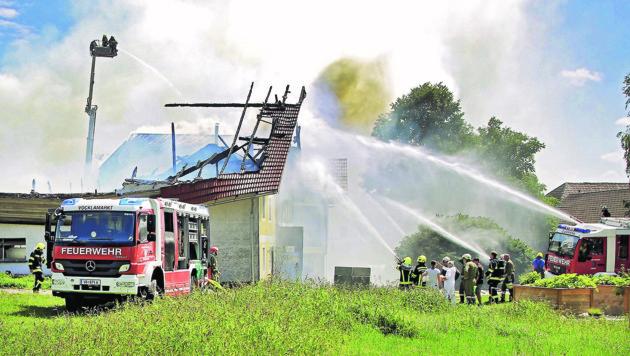 Der Großbrand in Vöcklamarkt (Bild: Manfred Fesl)