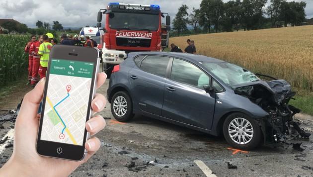 In diesem Kia starb die 28-Jährige aus Oftering, als sie beim Fahren ihr Handy bediente und abgelenkt war. (Bild: Fotomontage/Fotos: ÖRK/Frühwirt Thomas, alexey_boldin - stock.adobe.com)