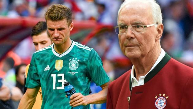 Franz Beckenbauer (re.) macht sich für ein Comeback von Thomas Müller (li.) stark. (Bild: AFP, krone.at-Grafik)