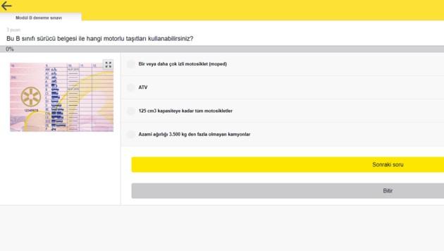 Eine Frage aus dem Fahrprüfungs-Katalog auf Türkisch (Bild: oeamtc.at)