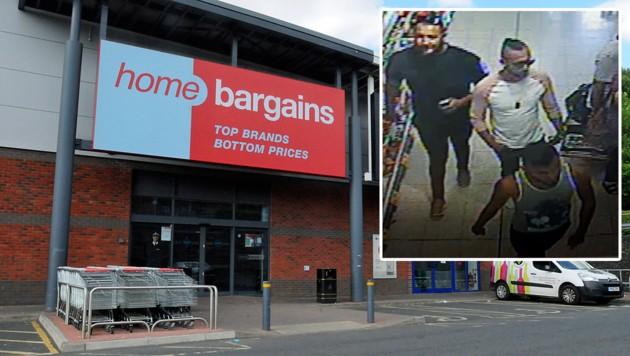 """Die Polizei fahndet nach diesen drei Männern, die an der Tat im """"Home Bargains""""-Shop beteiligt gewesen sein sollen."""
