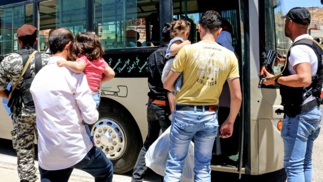 Migranten an der syrisch-libanesischen Grenze