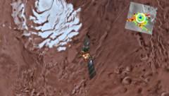 Die blau gefärbte Stelle (weiß markiert), zeigt, wo der große und die kleinen Seen unter der Marsoberfläche liegen. (Bild: ESA/INAF)