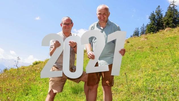 Bgm. Wolfgang Viertler und Christian Wörister (GF Ferienregion Nationalpark Hohe Tauern). (Bild: Franz Neumayr)