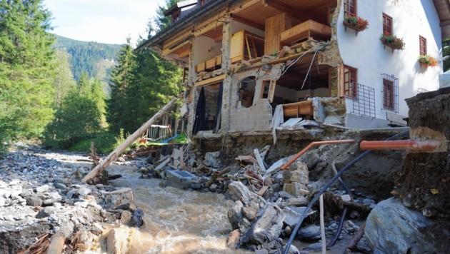So sah das Berghaus nach dem Hochwasser 2017 aus. (Bild: Martin Weichbold/ÖAV Öblarn)