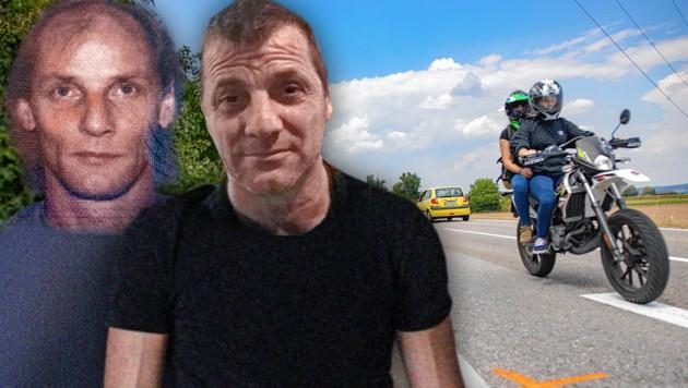 Die Brüder Heinz H. (l.) und Ludwig H. starben binnen 7 Tagen bei Motorradunfällen im Innviertel. Die Unglücksstellen waren lediglich 4 Kilometer voneinander entfernt. (Bild: Scharinger Daniel, zVg, stock.adobe.com, krone.at-Grafik)