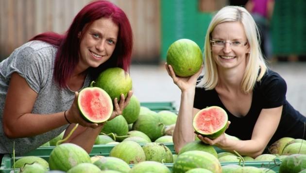 Irene Gombotz und Christa Wonisch, innovative Landwirtinnen aus Straden, mit herrlichen Melonen! (Bild: Krone)