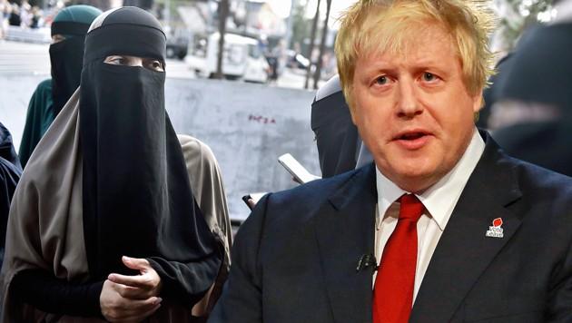 Der zurückgetretene britische Außenminister Boris Johnson warnt beim Thema Vollverschleierungsverbot vor der Erschaffung neuer Märtyrer. (Bild: AP, AFP)