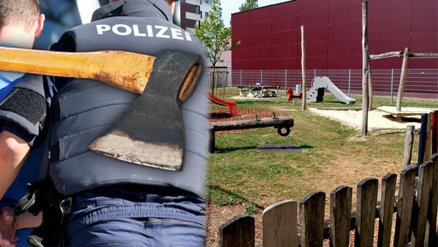 Auf dem Spielplatz in der Schillerstraße in Steyr begann die Massenschlägerei unter den Asylwerbern. (Bild: Einöder, APA/Barbara Gindl, thinkstockphotos.com (Symbolbild))