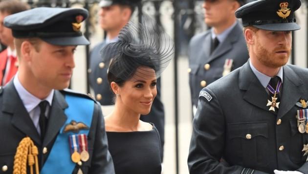 Prinz William, Herzogin Meghan, Prinz Harry (Bild: AFP)