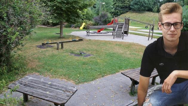 Dominik H. (19) starb auf diesem Spielplatz nach dem Konsum einer Kräutermischung - ob diese mit dem Tod etwas zu tun hat, ist noch ungeklärt (Bild: Marion Hörmandinger, privat)