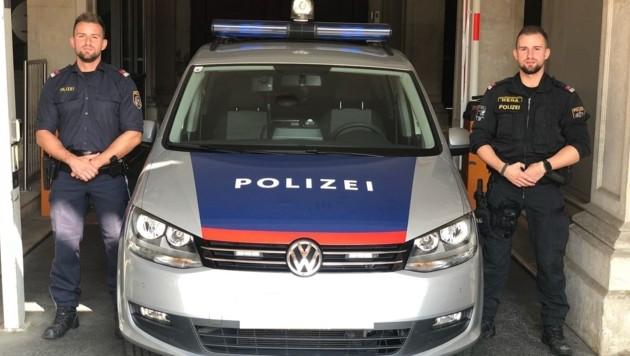 Revierinspektor Andreas P. und sein Bruder, Revierinspektor Michael P., wurden auf der deutschen Autobahn A8 zu Lebensrettern. (Bild: LPD WIEN)
