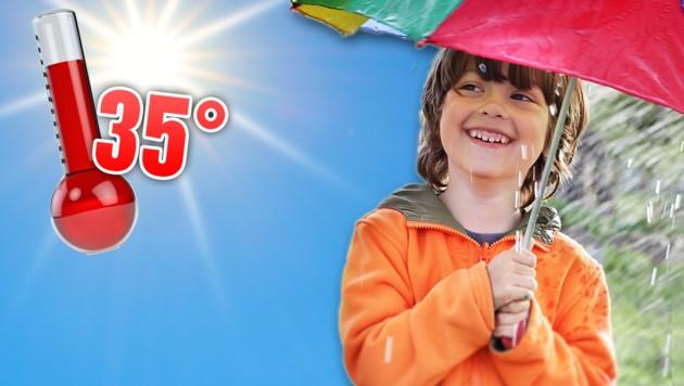Das war's mit der Hitze - jetzt folgt Regen. (Bild: stock.adobe.com, krone.at-Grafik)