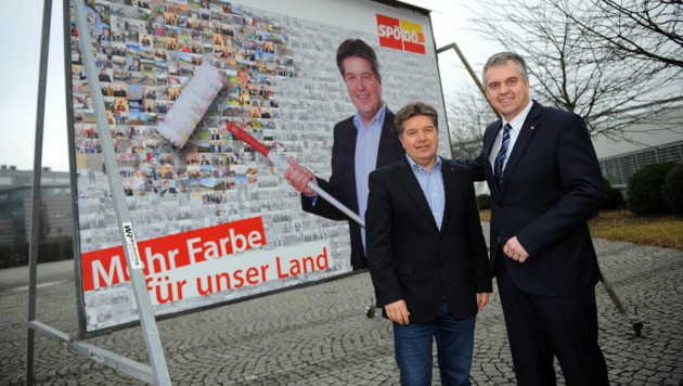 Christian Horner (re.) im Jänner 2014 mit dem damaligen SPÖ-Landesparteichef Reinhold Entholzer. Im März jenes Jahre wechselte Horner ins Kabinett des damaligen Kanzlers Faymann. (Bild: Markus Wenzel)