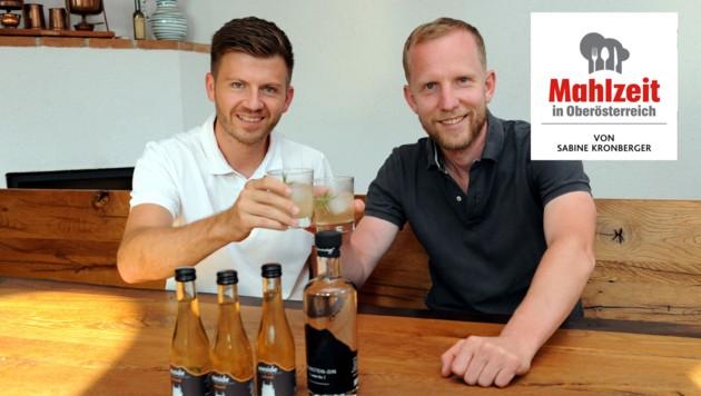 """Christoph Landershammer (32) und Christian Brunner (37, rechts) entwickelten das erste Tonic """"made in Oberösterreich""""! (Bild: Klemens Fellner)"""