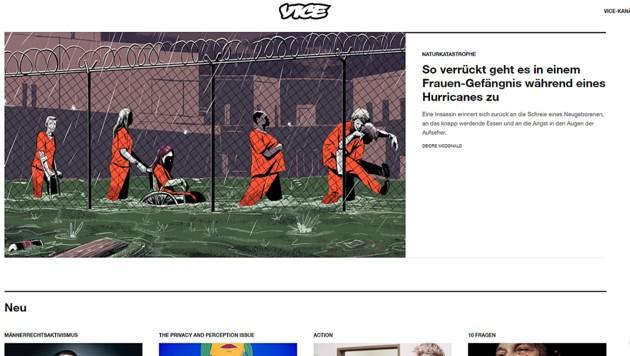 Ein Screenshot der aktuellen Startseite von Vice (Bild: www.vice.com/de_at)
