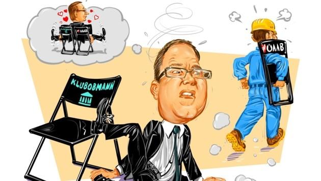 Das Sitzen auf zwei Sesseln ist oft nicht sehr haltbar, wie ÖVP-Politiker August Wöginger zumindest in der Karikatur erfahren muss. (Bild: Milan A. Ilic)