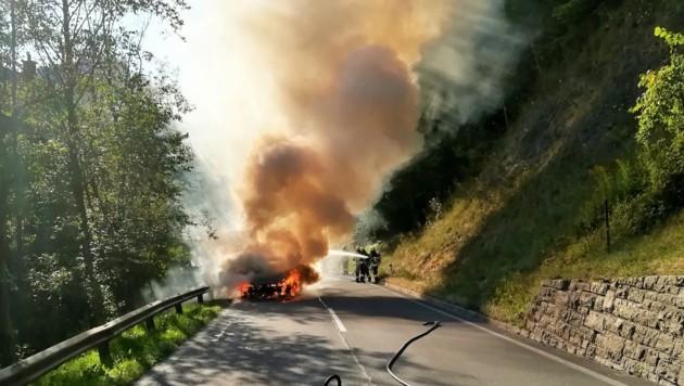 Der Pkw brannte völlig aus (Bild: FF Lassing/Gerstbrein)