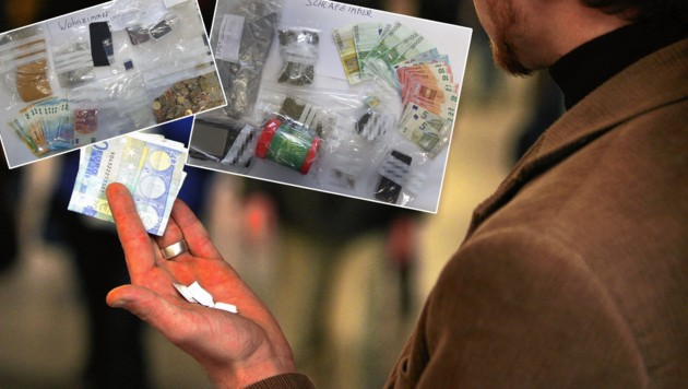 Salzburger Drogenfahnder konnten zwei Dealer ausforschen und bei einer Hausdurchsuchung Beweismaterial sichern (kl. Foto). (Bild: KRONEN ZEITUNG/LPD Salzburg)
