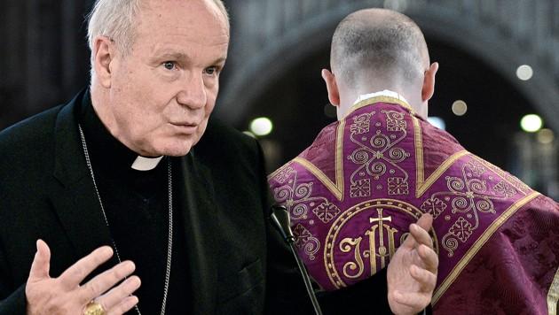 Kardinal Christoph Schönborn (Bild: APA/HANS PUNZ, APA/HANS KLAUS TECHT, krone.at-Grafik)