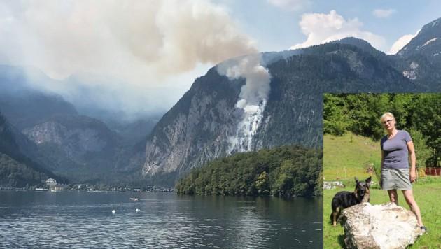 Johanna Straubinger (60) vor dem Felsbrocken, der fast ihr Haus zerstörte (kl. Bild). Er war aus der Feuerwand gefallen. (Bild: gewefoto - Gerhard Wenzel)