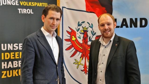 ÖVP-Chef Sebastian Kurz und Dominik Schrott (rechts) (Bild: Christof Birbaumer)