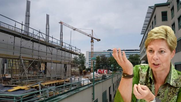 Eine Großbaustelle gibt es derzeit beim Kepler Uniklinikum in Linz, das neue Lehr- und Forschungsgebäude wird errichtet. Doch auch intern gibt es in der KUK Baustellen, so beim Budget, für das Elgin Drda als kaufmännische Direktorin hauptzuständig ist. (Bild: Werner Pöchinger, Markus Wenzel)