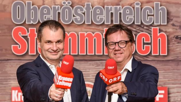 """""""OÖ-Krone""""-Chefredakteur Harald Kalcher (li.) und ORF OÖ-Programmchef Michael Trnka laden ein (Bild: Markus Wenzel)"""