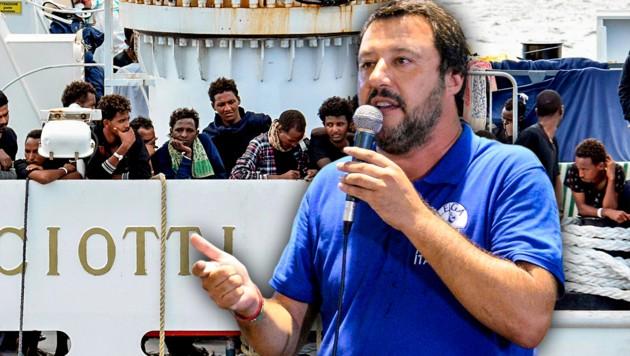 Der italienische Innenminister Matteo Salvini verfolgt einen Kurs der strikten Abschottung gegenüber Migranten. (Bild: Daniele Panato/ANSA via AP, Orietta Scardino/ANSA via AP, krone.at-Grafik)