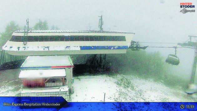 Auf der Höss schneite es bereits. (Bild: HIWU Webcam)