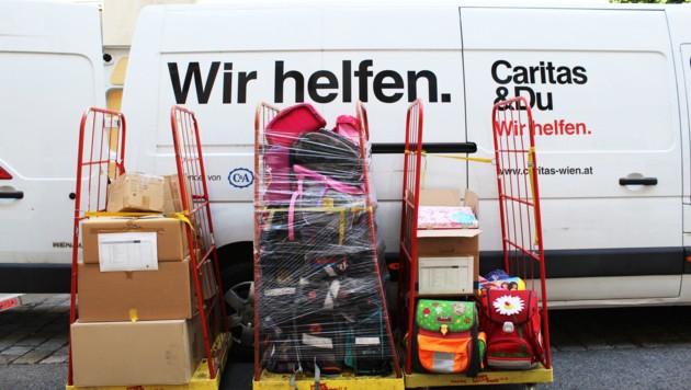 Durch Initiativen der Caritas konnten Schultaschen und Schulsachen für Kinder in Not gesammelt werden. (Bild: Caritas)